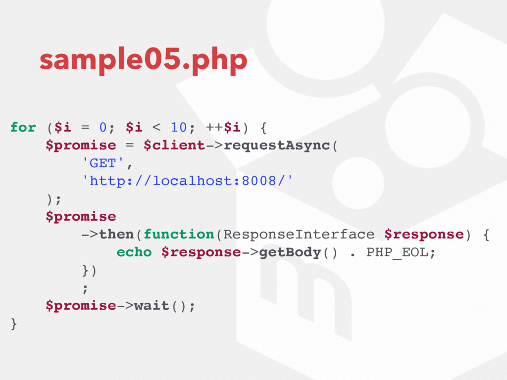 sample05.php for ($i = 0; $i < 10; ++$i) { $pro...