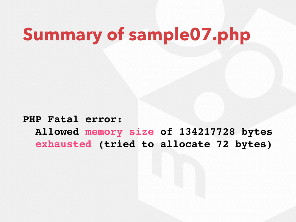 Summary of sample07.php PHP Fatal error: Allowe...