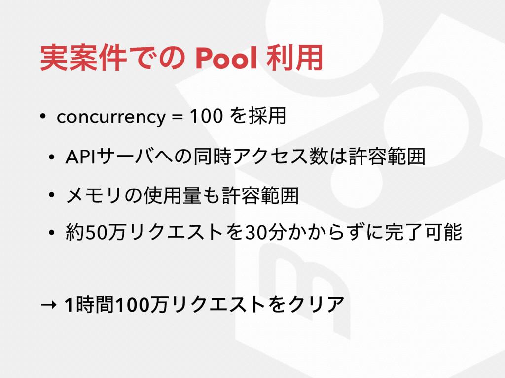 ࣮Ҋ݅Ͱͷ Pool ར༻ • concurrency = 100 Λ࠾༻ • APIαʔό...
