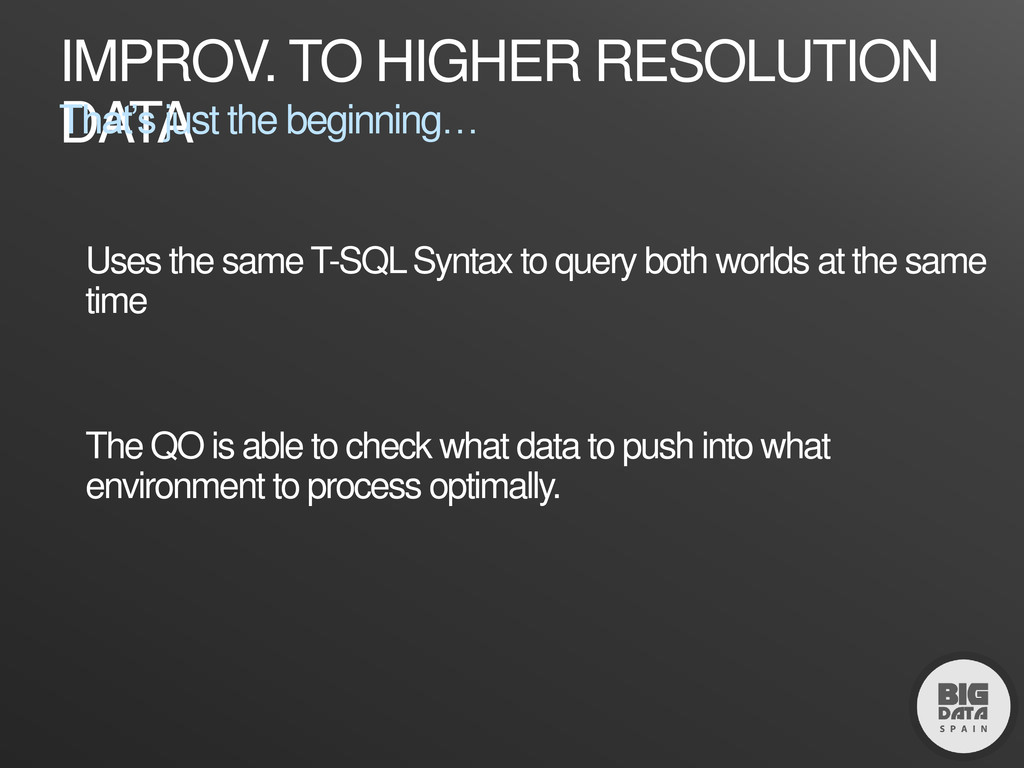 IMPROV. TO HIGHER RESOLUTION DATA That's just t...