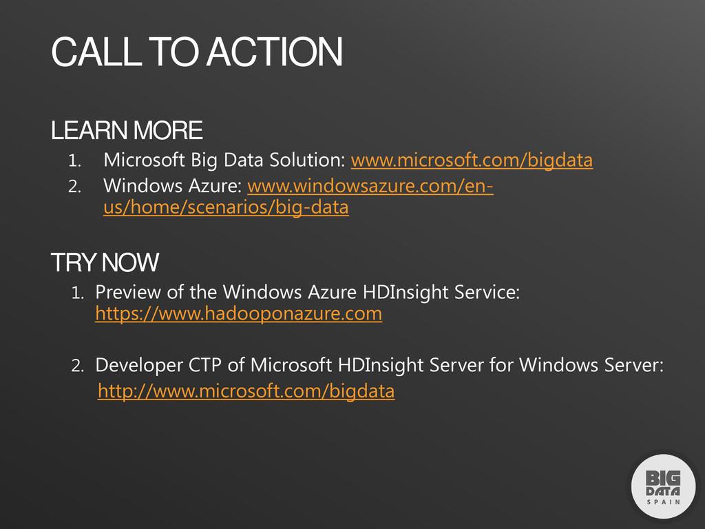 LEARN MORE 1. Microsoft Big Data Solution: www....