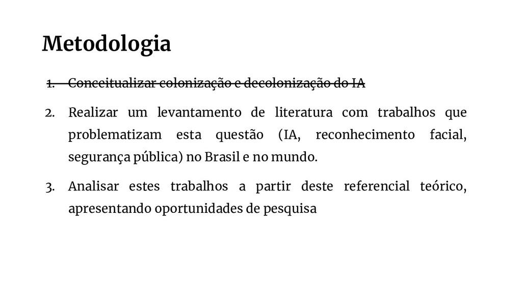 Metodologia 1. Conceitualizar colonização e dec...