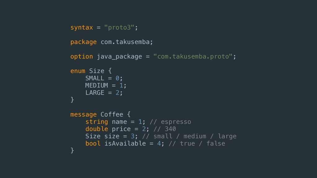 "syntax = ""proto3""; package com.takusemba; optio..."