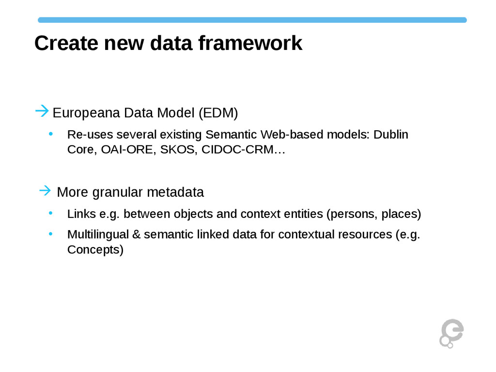 Create new data framework Europeana Data Model...