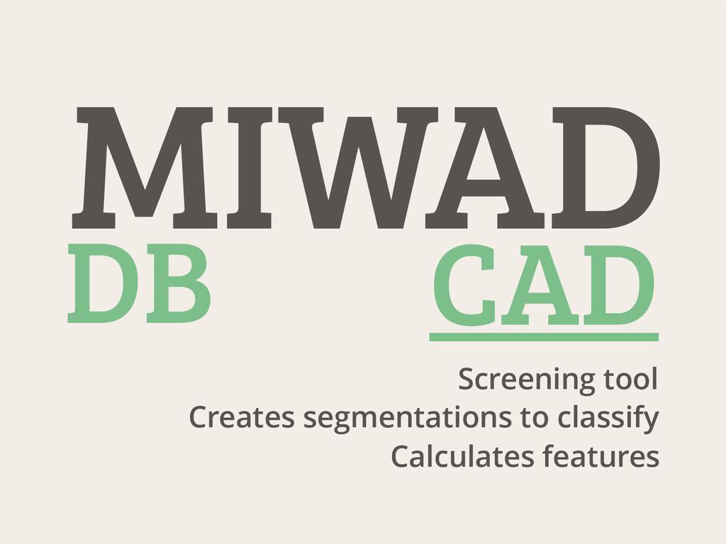 Screening tool Creates segmentations to classif...