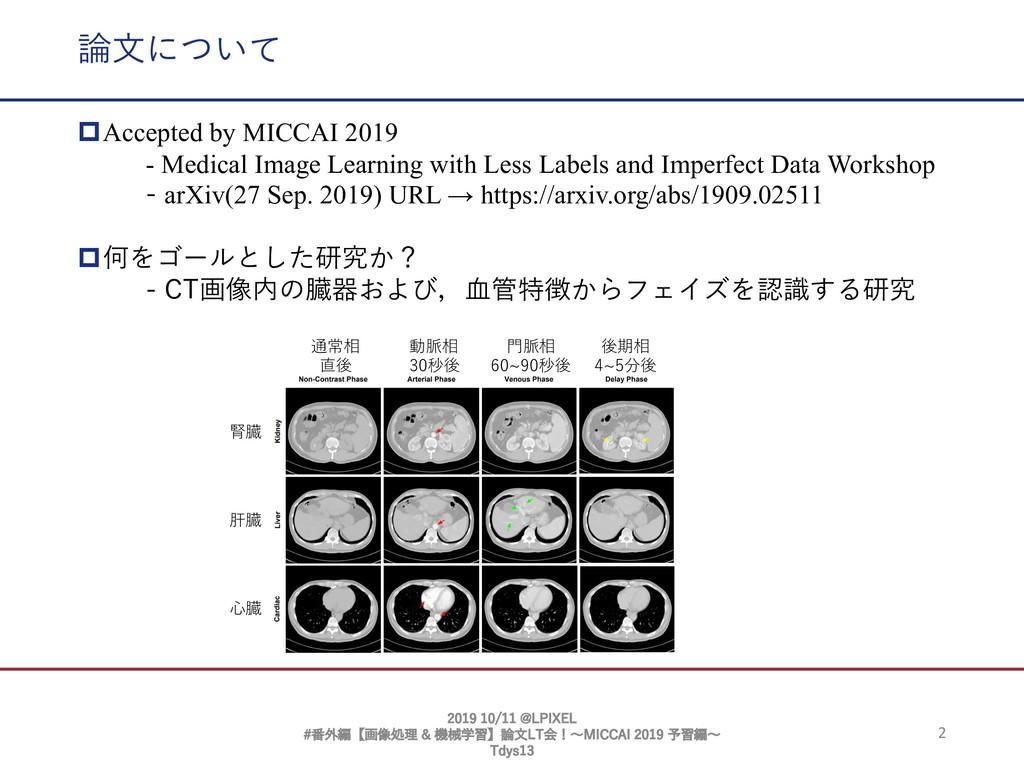 2 論⽂について pAccepted by MICCAI 2019 - Medical Ima...