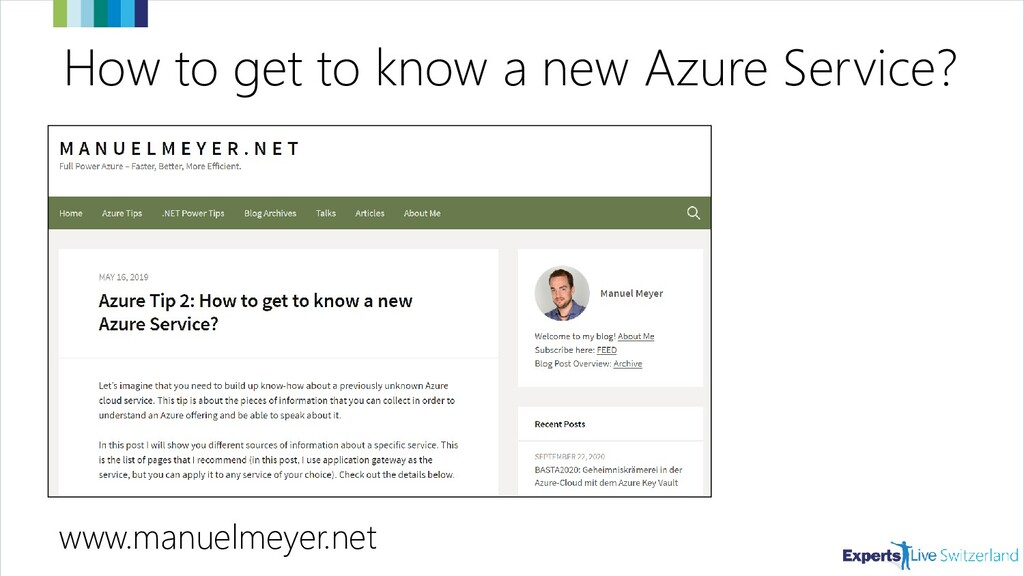 How to get to know a new Azure Service? www.man...