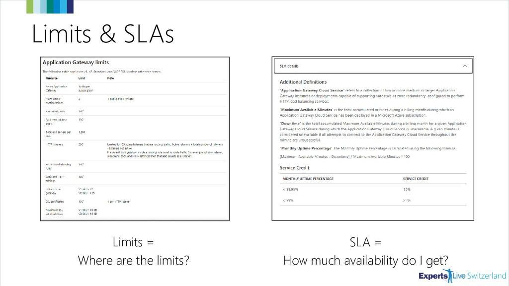 Limits & SLAs Limits = Where are the limits? SL...