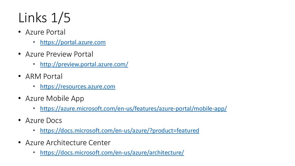 Links 1/5 • Azure Portal • https://portal.azure...