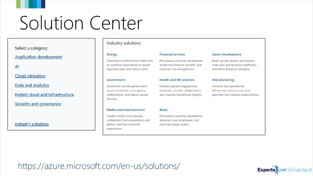 Solution Center https://azure.microsoft.com/en-...