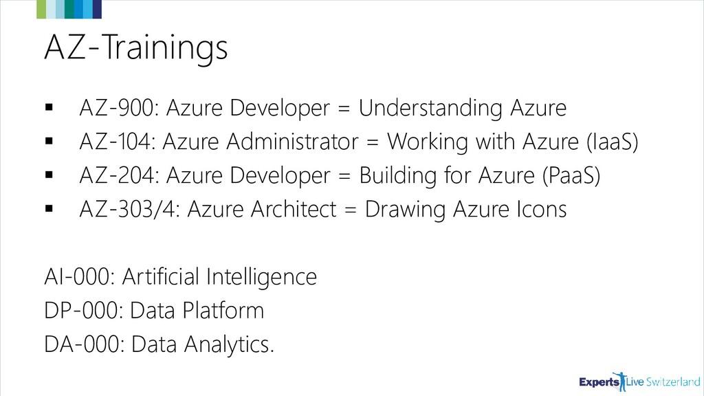 AZ-Trainings ▪ AZ-900: Azure Developer = Unders...