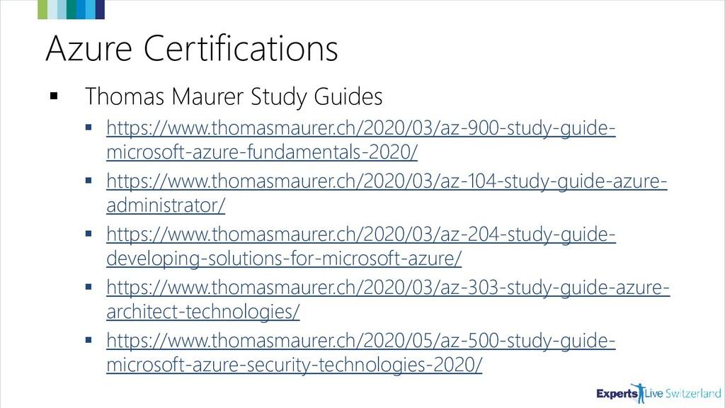 Azure Certifications ▪ Thomas Maurer Study Guid...