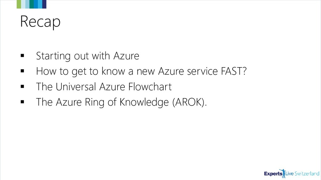 Recap ▪ Starting out with Azure ▪ How to get to...