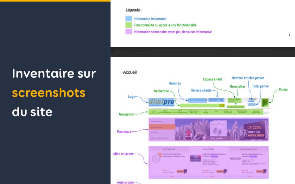 Inventaire sur screenshots du site