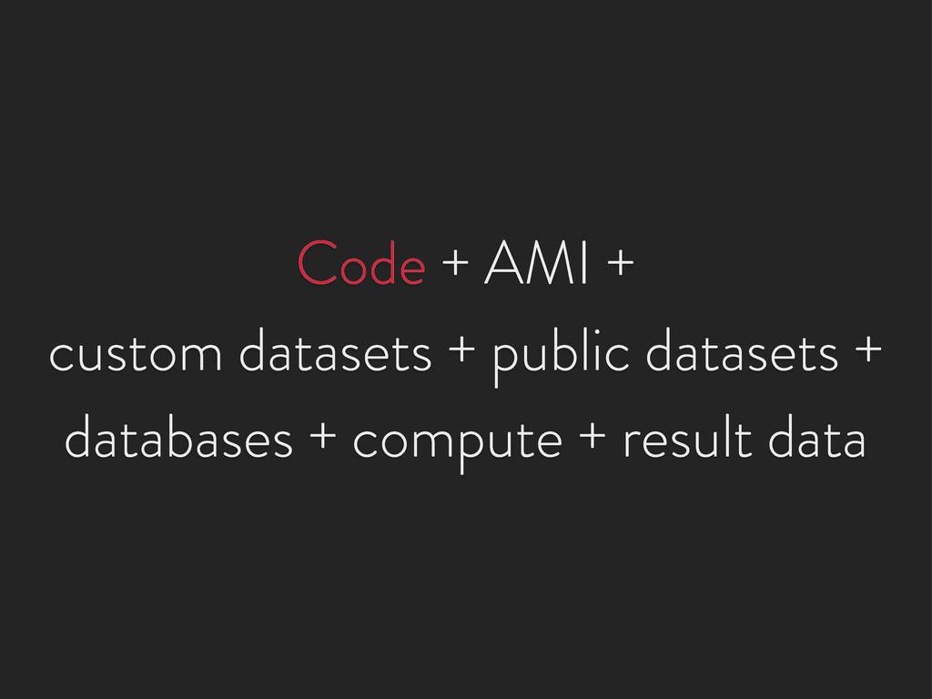 Code + AMI + custom datasets + public datasets ...