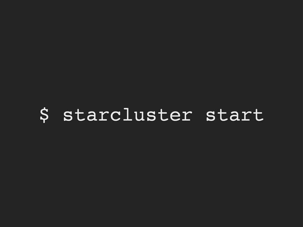 $ starcluster start