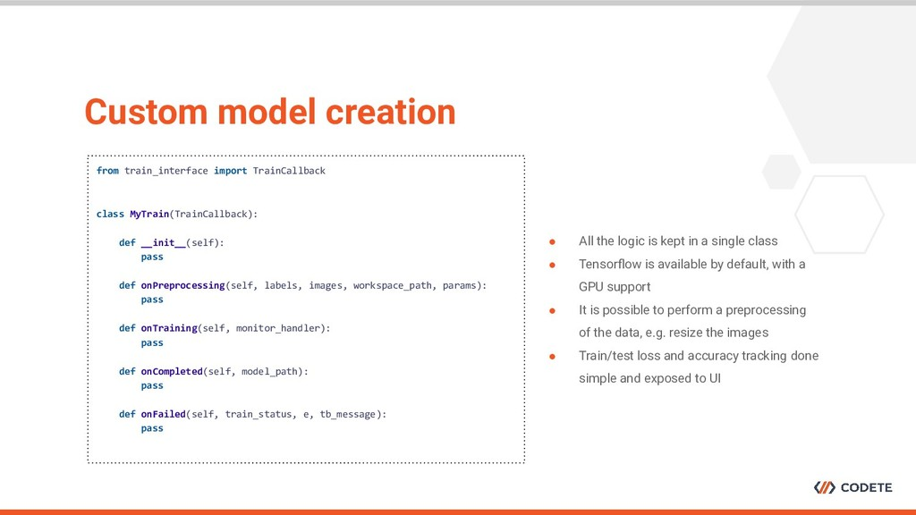 Custom model creation from train_interface impo...
