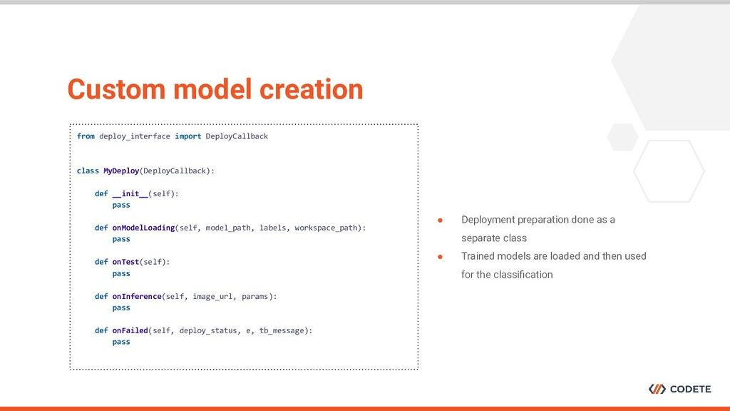 Custom model creation from deploy_interface imp...