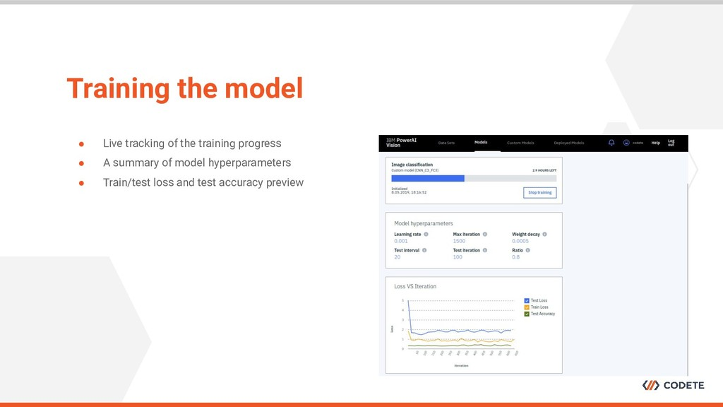 Training the model ● Live tracking of the train...