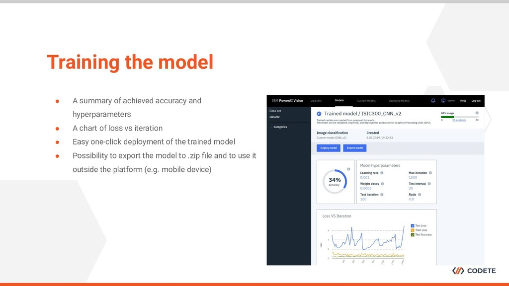 Training the model ● A summary of achieved accu...