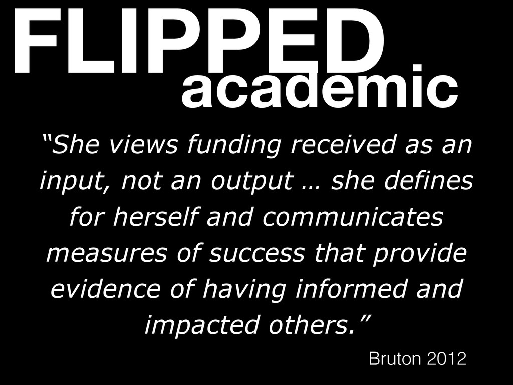 """FLIPPED academic """"She views funding received as..."""