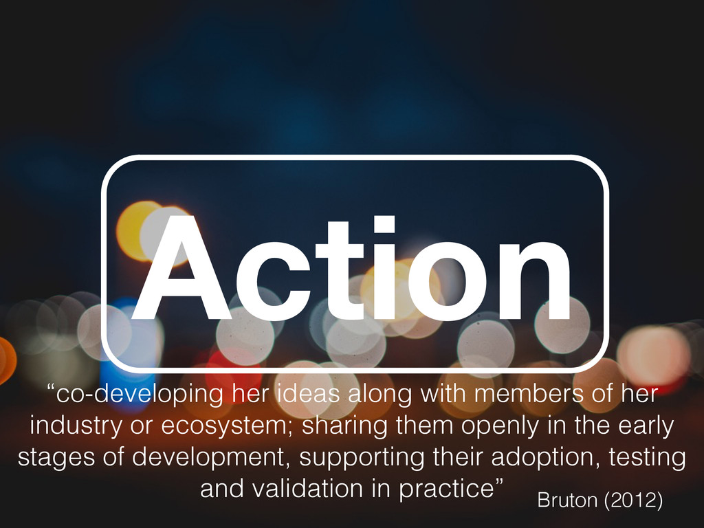 """Action """"co-developing her ideas along with memb..."""