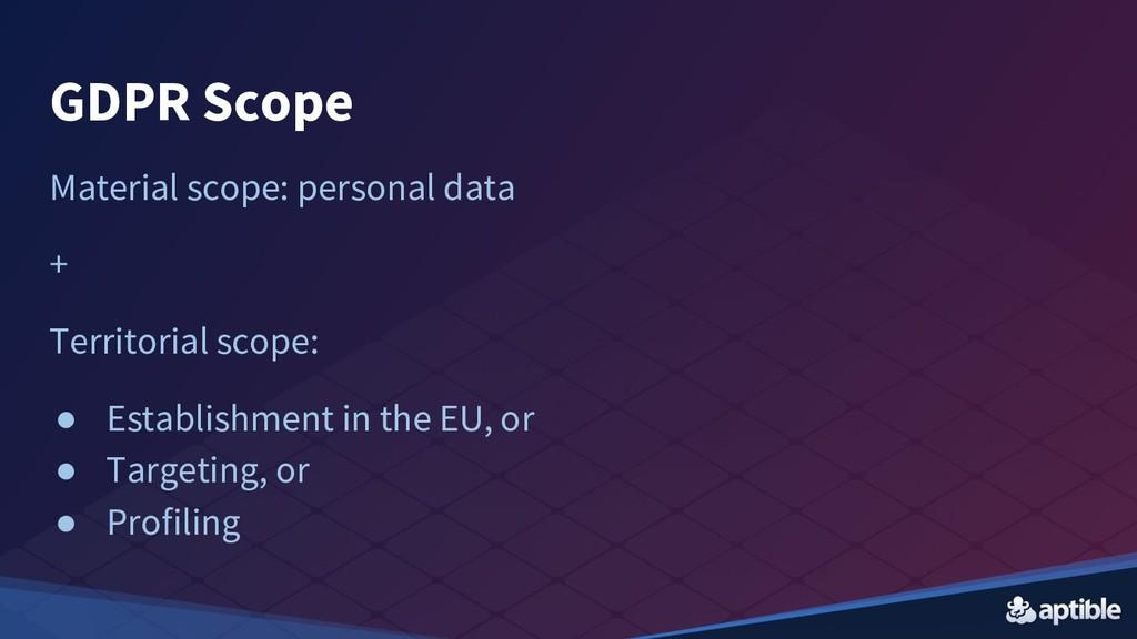 GDPR Scope Material scope: personal data + Terr...