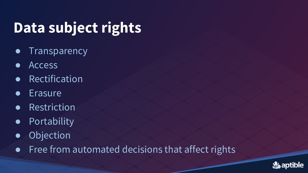 Data subject rights ● Transparency ● Access ● R...