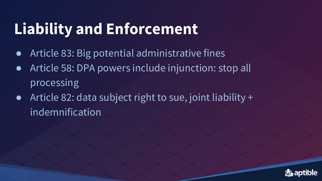 Liability and Enforcement ● Article 83: Big pot...