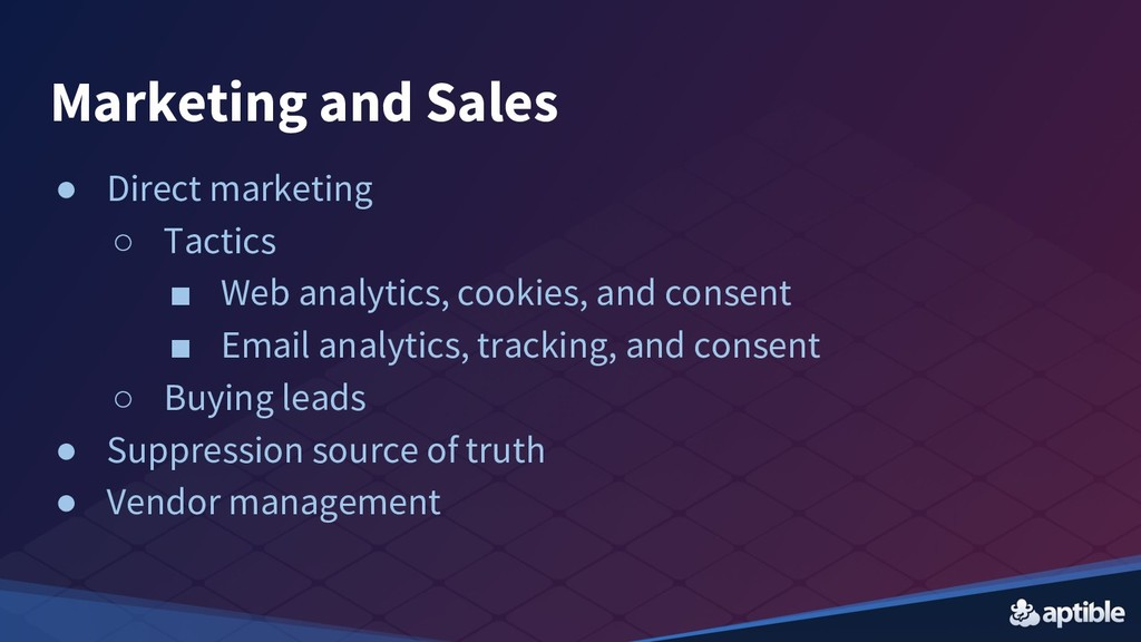 Marketing and Sales ● Direct marketing ○ Tactic...