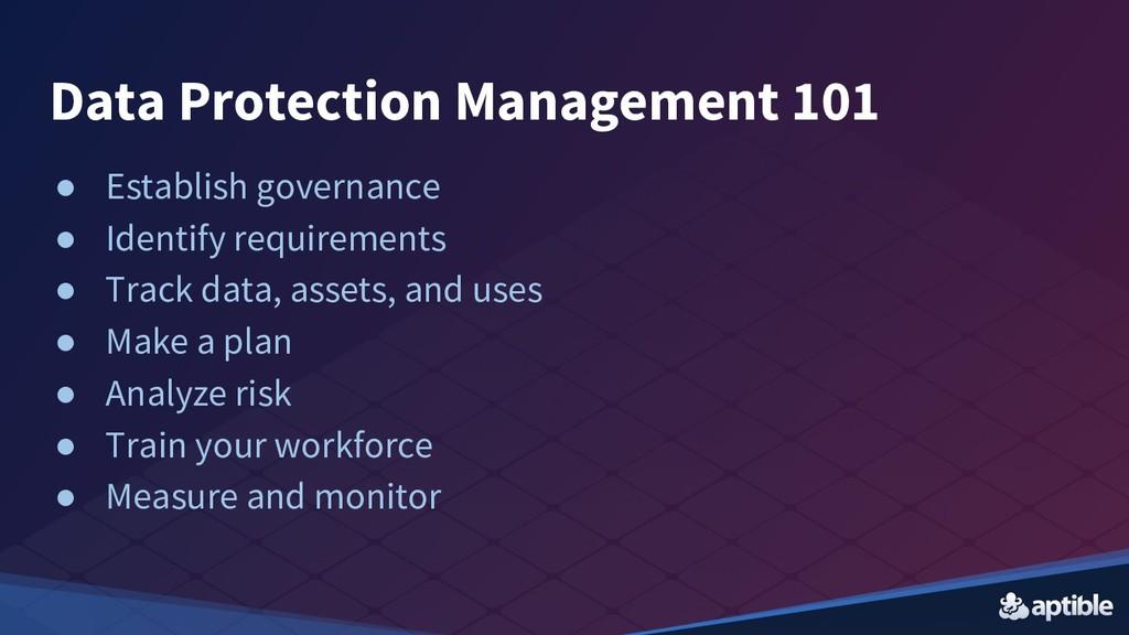 Data Protection Management 101 ● Establish gove...