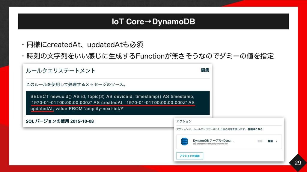 "IoT Core→DynamoDB 29 w ಉ༷ʹDSFBUFE""UɺVQEBUFE""Uඞ..."