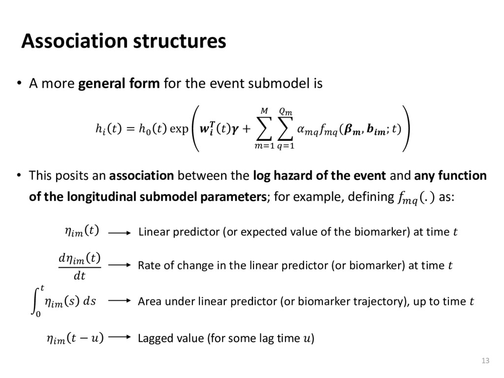 Association structures • A more general form fo...