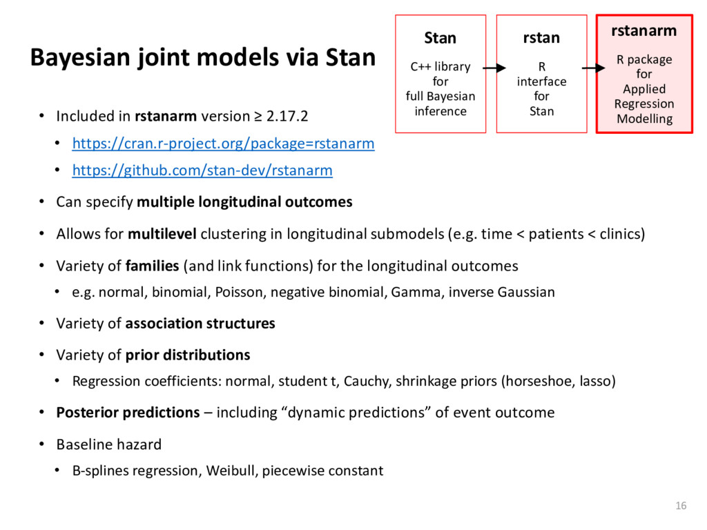 Bayesian joint models via Stan • Included in rs...