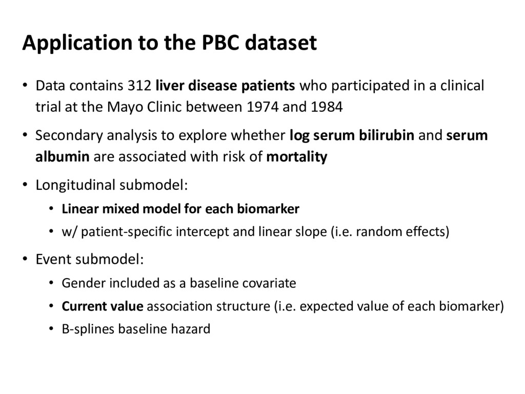 Application to the PBC dataset • Data contains ...