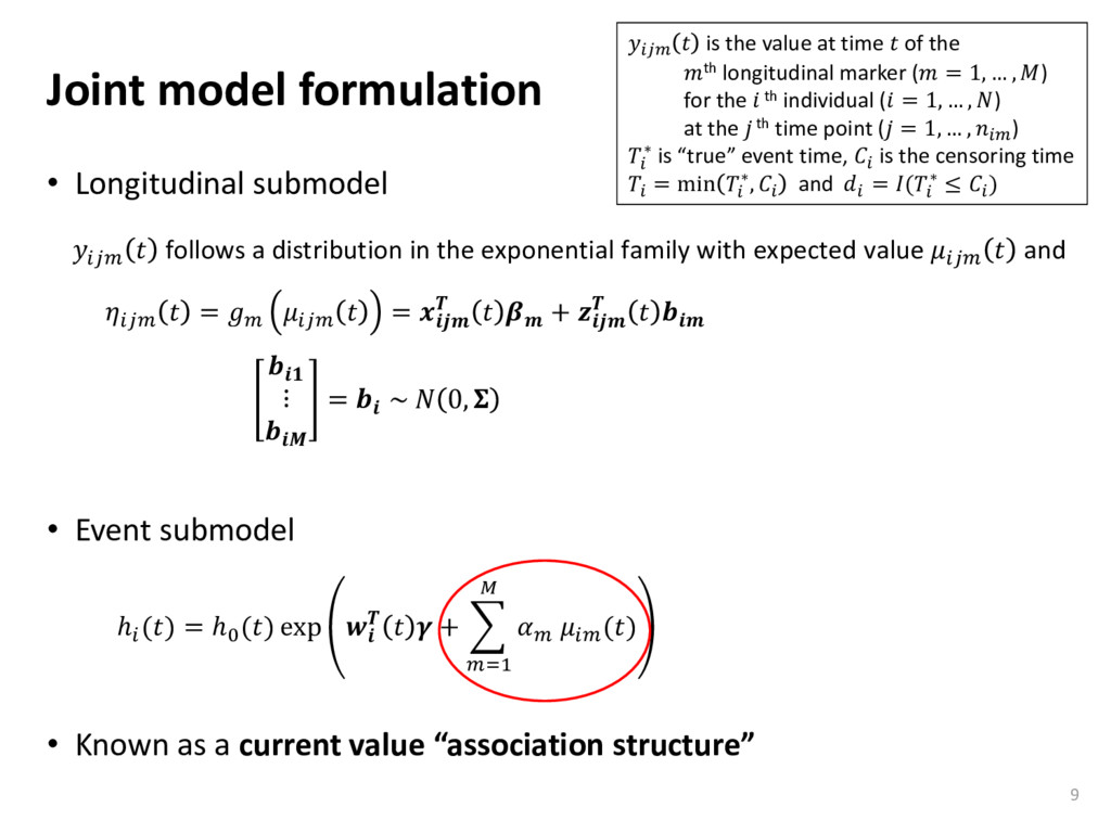 Joint model formulation • Longitudinal submodel...