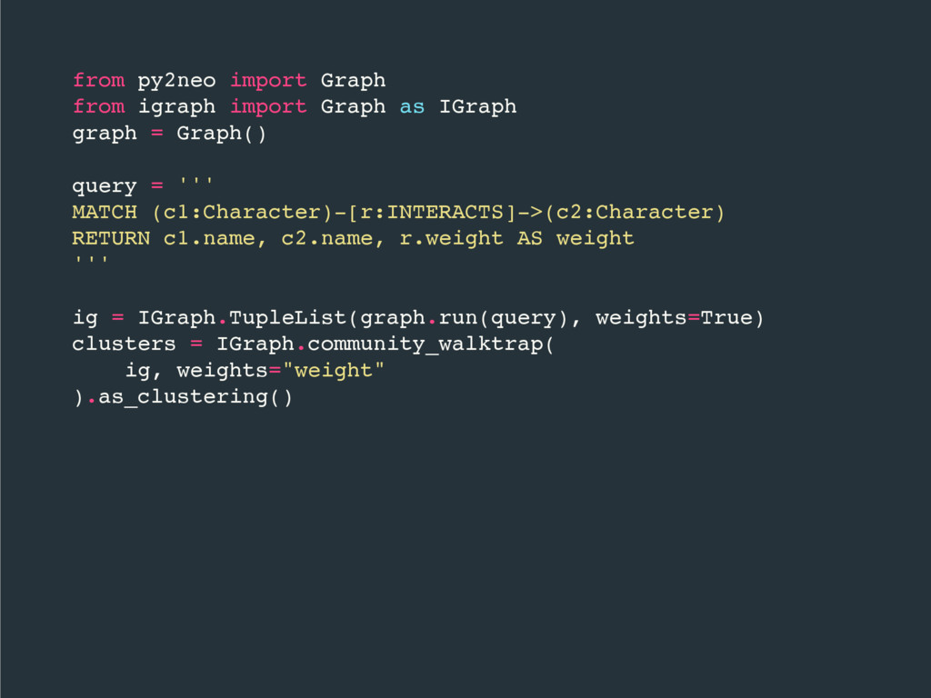 from py2neo import Graph from igraph import Gra...