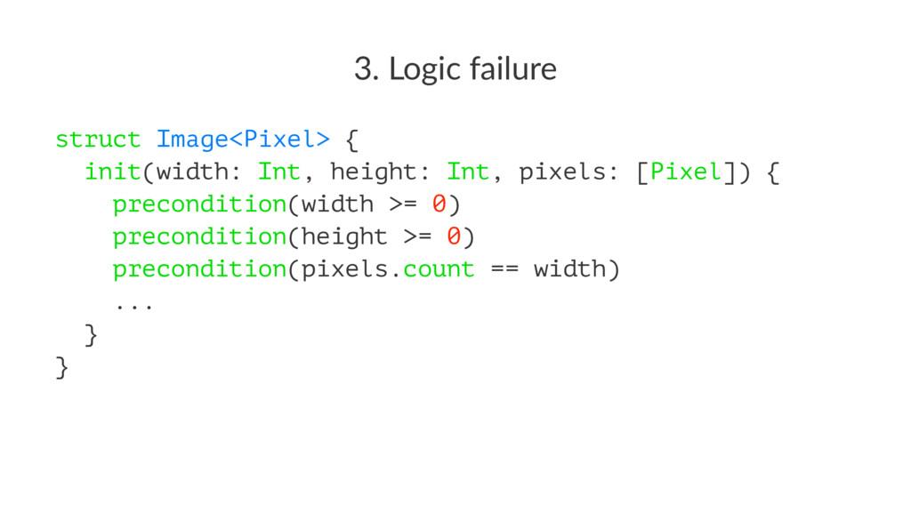 3. Logic failure struct Image<Pixel> { init(wid...