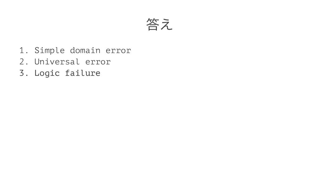͑ 1. Simple domain error 2. Universal error 3....