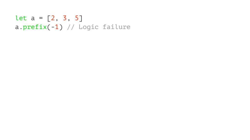 let a = [2, 3, 5] a.prefix(-1) // Logic failure
