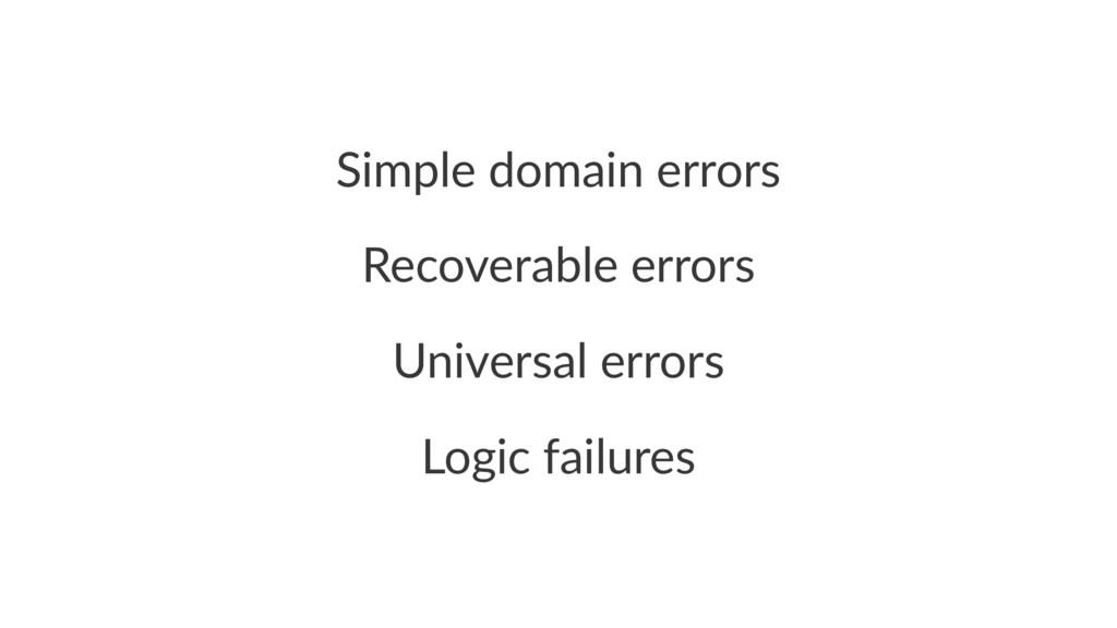 Simple domain errors Recoverable errors Univers...