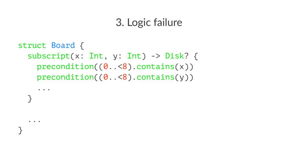 3. Logic failure struct Board { subscript(x: In...