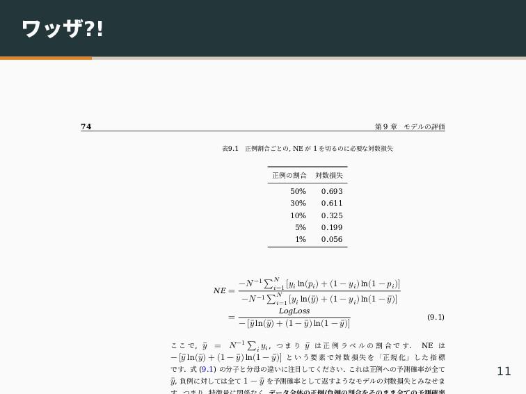 ワッザ?! 74 第 9 章 モデルの評価 表9.1 正例割合ごとの, NE が 1 を切るの...