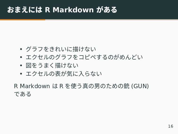 おまえには R Markdown がある • グラフをきれいに描けない • エクセルのグラフを...