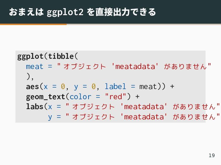 """おまえは ggplot2 を直接出力できる ggplot(tibble( meat = """" オ..."""