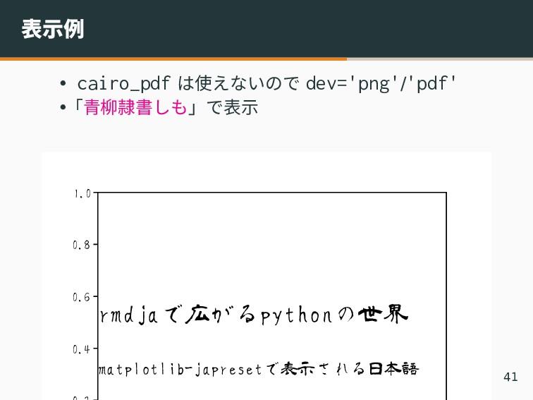 表示例 • cairo_pdf は使えないので dev='png'/'pdf' •「青柳隷書し...