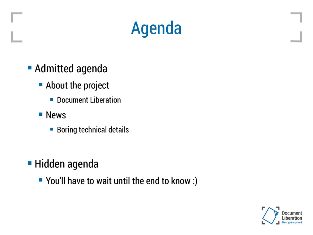 Agenda  Admitted agenda  About the project  ...