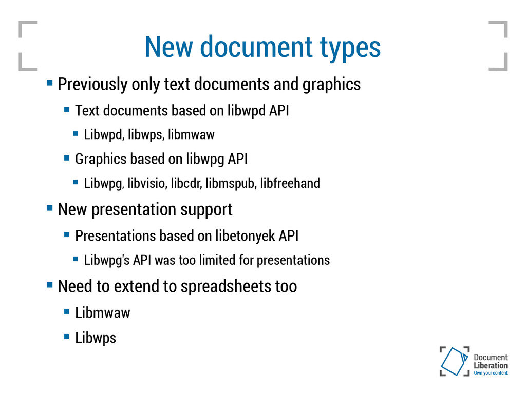 New document types  Previously only text docum...