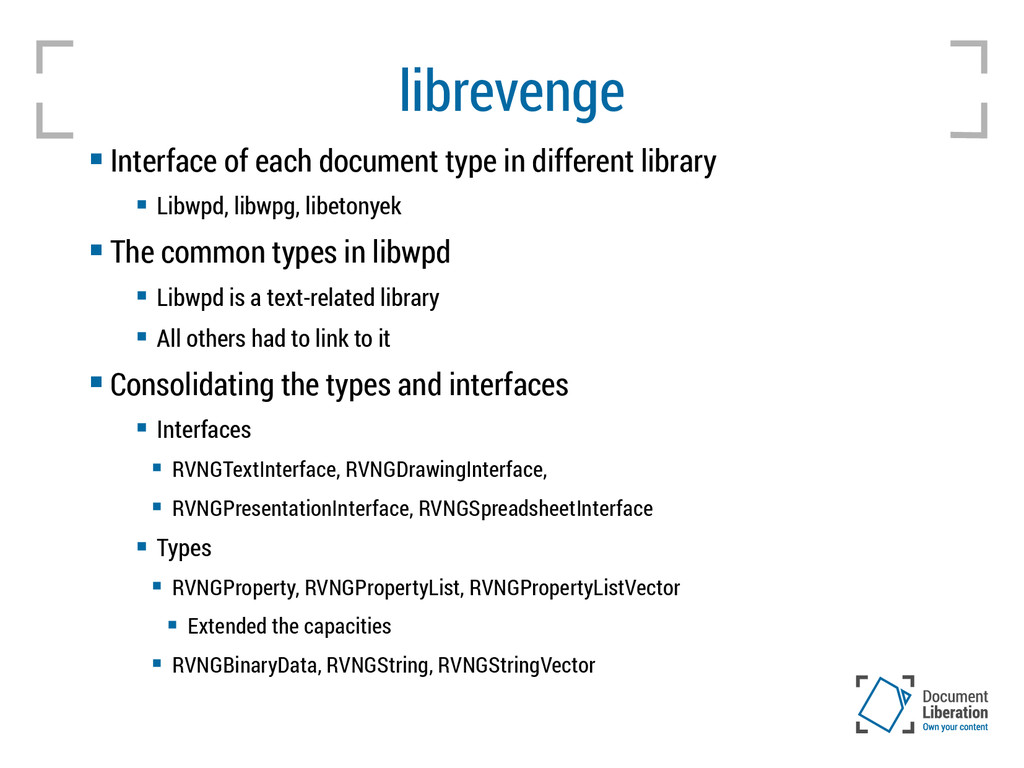 librevenge  Interface of each document type in...