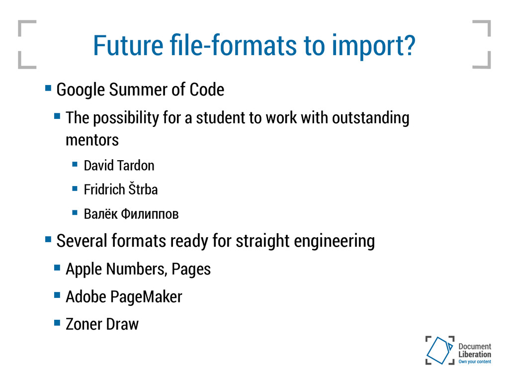 Future file-formats to import?  Google Summer ...
